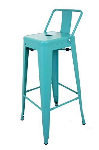 La Chaise Espagnole - Tabouret avec dossier de style Tolix, Bleu Turquoise, 95x44,5x44,5