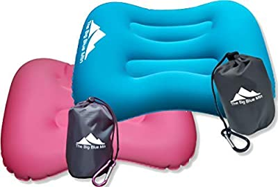 The Big Blue Mtn Ultralight Backpacking Inflatable Camping Pillow with Lightweight Compact Pouch Sack and Carabiner - Camp Hiking Summit Gear for Beach Sea Travel Hammock (Teal Pink 2 Pack)