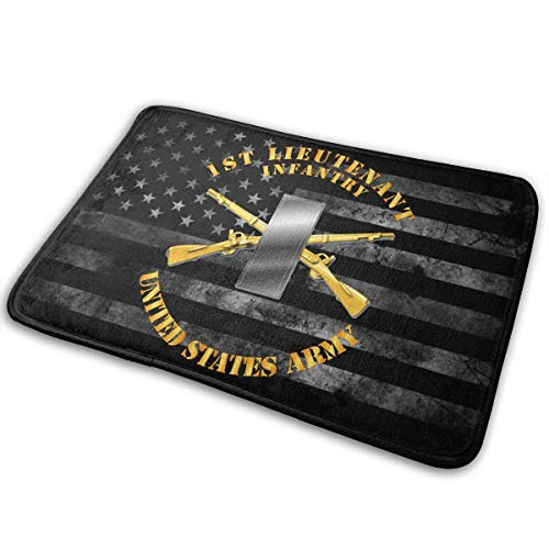 Hangdachang Army 1ST LT Infantry Door Mat Outdoor Multifunctional and Washable Indoor Home Decor Bathroom Kitchen Rug 23.6 x 15.7 inches