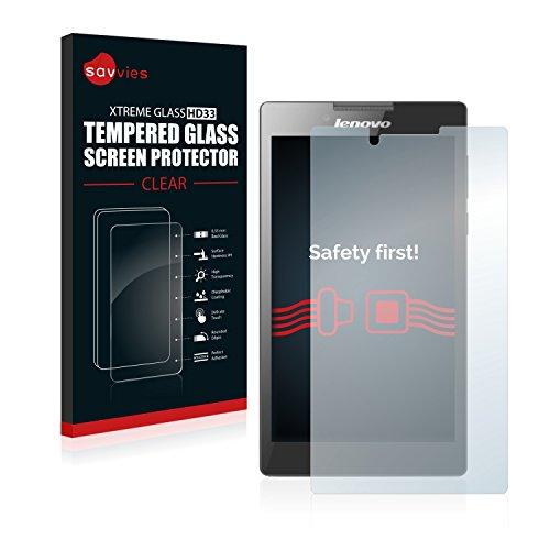 Savvies Panzerglas kompatibel mit Lenovo Tab 2 A7-30 (Kamera Links) - Echt-Glas, 9H Festigkeit, Anti-Fingerprint