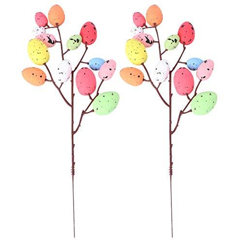 VALICLUD 32CM Ostereier Zweig Künstliche Eier Dekozweige DIY Blumenstrauß Baumschmuck Ostereier Ornamente zum Basteln Blumenarrangement Vase Frühlingsdeko Osterdeko 2 Stück