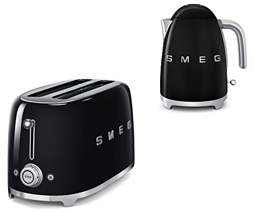 Smeg TSF02BLUK KLF11BLUK | 50s Retro Style 4 Slice Toaster & Kettle Set in Black