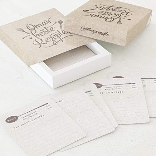 sendmoments Schachtel für Kochrezepte, Beste Karten, 60 Rezeptkarten (88x105 mm) zum Beschriften in einer dazupassenden Papierbox (112x130 mm) mit kreativem Design, Kochen & Backen, Rezepte schreiben