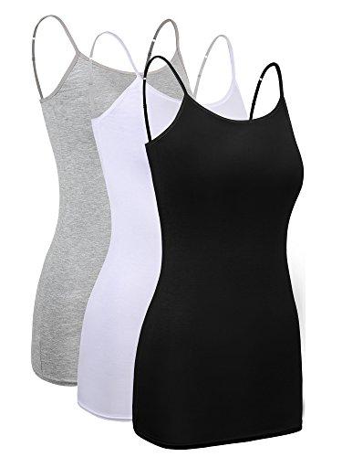3 Piezas de Camisola Larga Básica de Mujeres Camisola de Tirante de Spaghetti Ajustable Camiseta sin Mangas