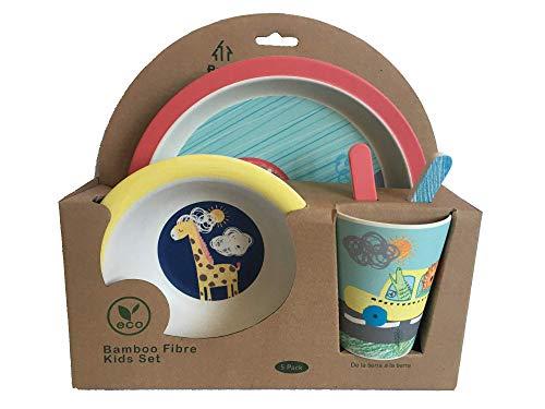 AMTBABY Servizi da tavola per Bambini di Bamboo. Set di 5 Pezzi Senza bpa, ecologici e biodegradabili. per Neonati e Bambini. Lavabile in lavastoviglie