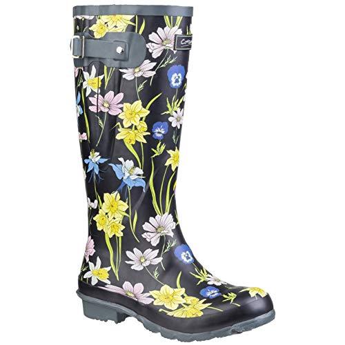 Cotswold - Botas de Agua Estampadas Windsor para Chica Mujer (41 EU) (Negro Flores)