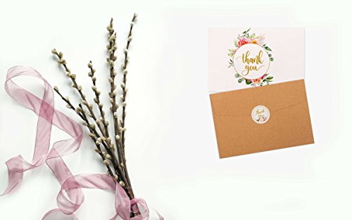 """40 Floral & Gold Thank You Cards 