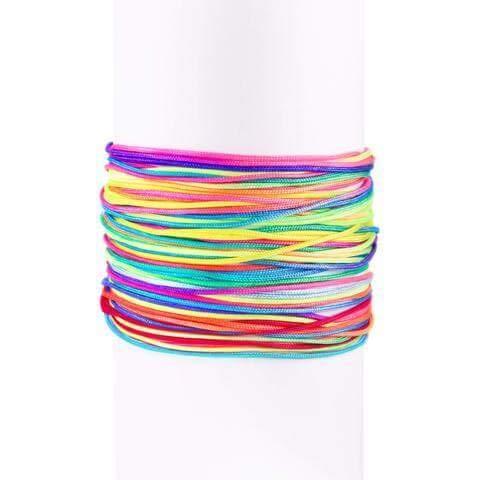 SINGULARU ®Pack 5 Pulseras Neon Rainbow Fruits Plata para Mujer Plata de Ley 925