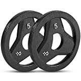 """Day 1 Fitness Cast Iron Olympic 2-Inch Grip Plate for Barbell, 5 Pound Set of 2 Plates Iron Grip Plates for Weightlifting, Crossfit - 2"""" Weight Plate for Bodybuilding"""