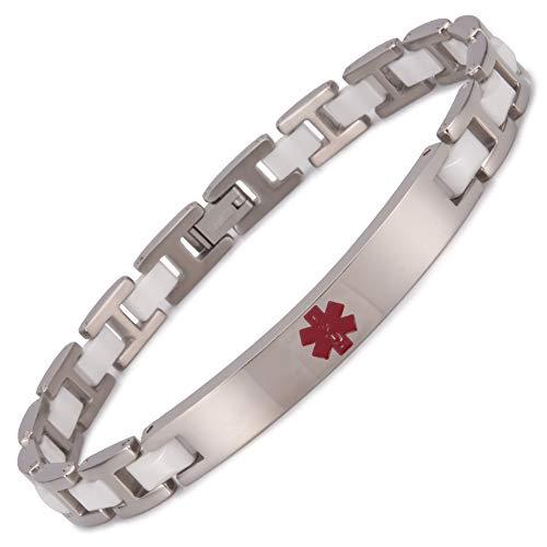 20,98 cm de las mujeres de la pulsera de acero inoxidable magnético alerta médica de cerámica blanca con elementos saludables pulseras 5