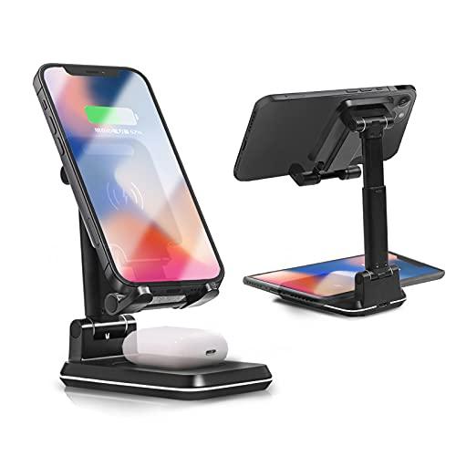 ワイヤレス充電器、2 in1デュアルワイヤレス充電器 電話スタンド、調整可能なデスク電話ホルダー 10W Qi急速充電器、iPhone 12 / Min/Por/Max/XR、iPhone 11 / Max/Xs/Xr/X / 8P、AirPods Pro、Samsung Galaxy S20 / S10 / S9 / S8 対応(黒)と互換
