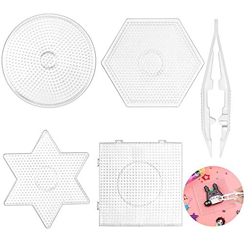 Bügelperlen Platten, 4 Stück Stiftplatte für Bügelperlen, Transparent Bügelperlen Vorlagen, Groß Steckperlen Platte Set für DIY Prozess Manuelle Erstellung(Mit Pinzette,Rund Viereck Sechseck Hexagon)