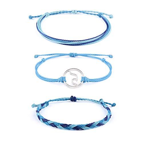 SUNSH 3PCS Handmade Braided Woven Anklet Bracelets for Women Girls Wave Charm Hippie Boho Beach Surf Anklet Bracelet Wax String Adjustable Mom Gifts
