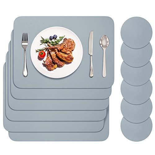 BANNIO Lot de 12 Sets de Table,6 Pièces Sets de Tables Lavables et 6 Pièces Dessous de Verre,PVC Set de Table(42 x 30CM),Antidérapant Lavable Chaleur Résiste,Gris Clair