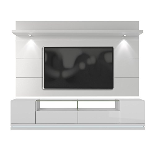 Manhattan Comfort Vanderbilt TV Stand and Cabrini 2.2 Floating Wall TV Panel with LED Lights, White Gloss