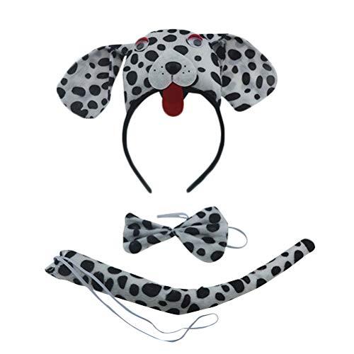 PRETYZOOM 3pcs Disfraz de Perro para Niños Conjunto de Diadema con Orejas Animal Cola y Pajarita Traje de Costume para Fiesta Carnaval (Perro con Manchas)