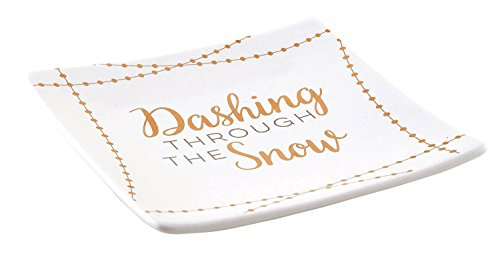 CB Gift Square Ceramic Holiday Appetizer Plates, Set of 4, Dashing Through The Snow