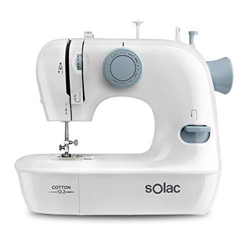 Solac SW8221 Cotton 12.2 - Máquina de coser. 12 puntadas. Enhebrado fácil. Brazo libre. Sistema vertical de carga. Iluminación en la zona de trabajo. Funciona con y sin pedal. Asa transporte. Blanco