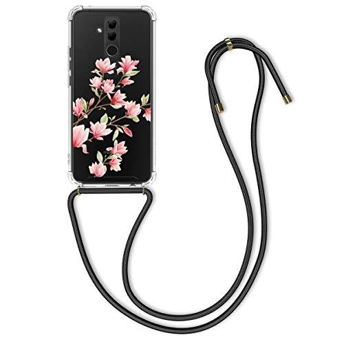 kwmobile Huawei Mate 20 Lite Hülle - mit Kordel zum Umhängen - Silikon Handy Schutzhülle für Huawei Mate 20 Lite - Magnolien Design Rosa Weiß Transparent