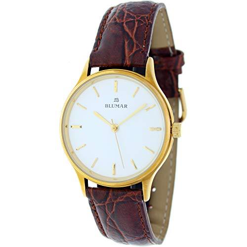 Blumar Bl-810321-0 Reloj Analogico para Hombre Caja De Dorado Esfera Color Blanco