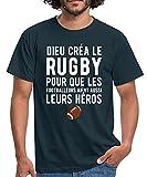 Spreadshirt Dieu Créa Le Rugby T-Shirt Homme, XL, Marine
