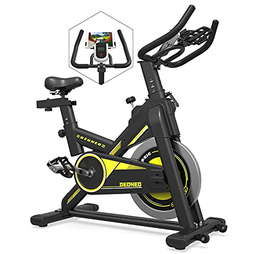 GEONEO Exercise Bike Stationary, Indoor Cycling Bike for Home Cardio Workout Bike Training, Quiet Belt Drive Fitness Bike with 35 LB Flywheel, LCD Monitor & Comfortable Seat Cushion (Black)