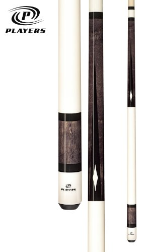Players C-945 Classic Smoke Stained Birds-Eye Maple with Black Points and Cream Diamonds Cue, 19.5-Ounce