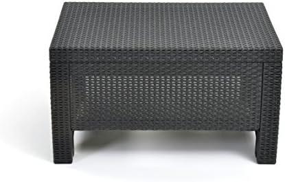 Best Keter Corfu Coffee Table Modern All Weather Outdoor Patio Garden Backyard Furniture, Charcoal
