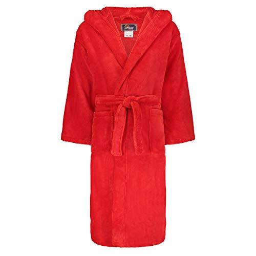 Star Kids Robe Soft Plush Hooded Fleece Robe Sleep Robe Bathrobe Boys & Girls (14-16, Red)
