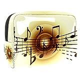 Vanity et Trousses à Maquillage Notes de Musique Vintage Portable Multifonction Sacs Cosmétique en, Imperméables Trousse Maquillage pour Femmes Filles 18.5x7.5x13cm