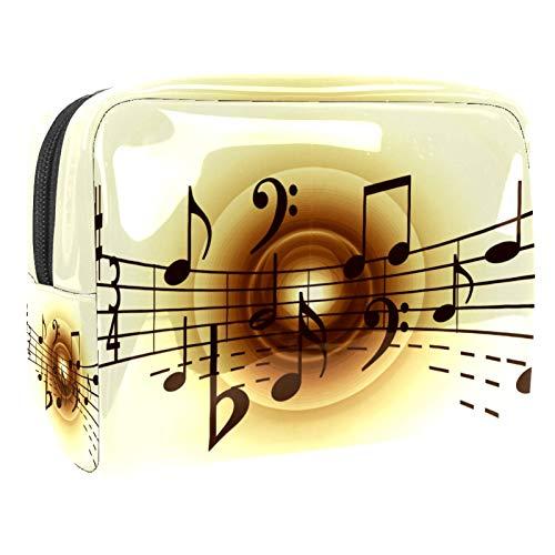 Neceser de Viaje Notas Musicales Vintage Neceser Maquillaje Grande Bolsas de Aseo Cosméticos Organizador Accesorios de Baño Neceser Viajes Vacaciones de Negocios 18.5x7.5x13cm