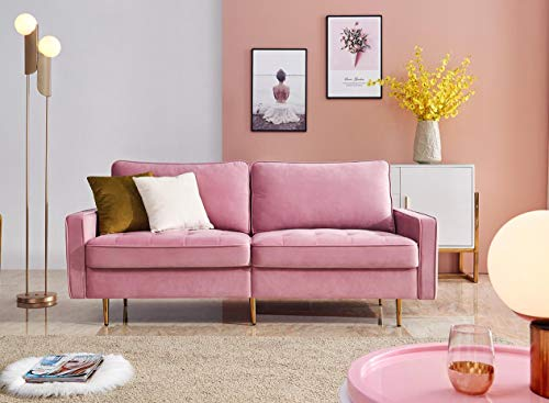Artiron Pink Modern Velvet Fabric Futon Couch Adjustable Back Sofa with 2 Decorative Pillows Living Room Furniture Luxury Look and High-end Velvet Fabric Sofa (Pink)