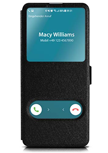 moex Klapphülle in Lederoptik inkl. Sichtfenster kompatibel mit Samsung Galaxy S10e | Integrierte Standfunktion + Magnetverschluss, Schwarz
