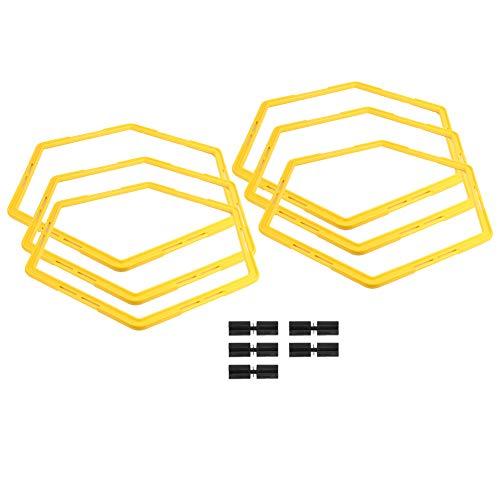 Wosune Anillo de Ejercicio ágil Hexagonal, círculo de Entrenamiento, Material de PP, Equipo de fútbol de Alta Resistencia para Deportes, Baloncesto, béisbol, fútbol, Tenis