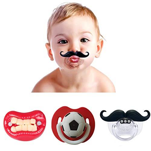 Chupete de Bigote para Bebé,3 Pack Divertido Chupete de Silicona Suave Chupete con Diseño de Bigote Mustaches Pacifiers para Bebé Recien Nacido 0-3 Años de Edad