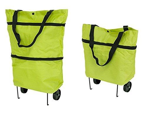 Premium Bolsa De La Compra (con Ruedas y Plegable sujetalibros (Plegable–Fácil–Impermeable) Shopping Bag Bolsa de la Compra Ruedas Trolley Green Verde