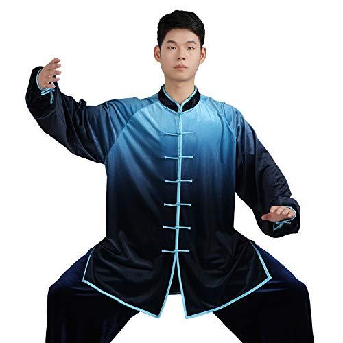 Abbigliamento Tai Chi Traspirante Cambio Graduale Uniforme Tai Chi Tenere al Caldo Abbigliamento Kung Fu Qi Gong Abbigliamento per Arti Marziali Abbigliamento Performance di Gruppo,Blue-L