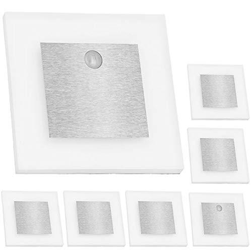 LEDANDO Set LED Treppenbeleuchtung Warmweiß 3000K inklusive Zwei Einheiten mit Bewegungsmelder und 15W Trafo, Set:7er Set inkl. 2 x Sensor