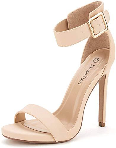 DREAM PAIRS Women's Elegantee Nude Nubuck Summer High Heels Pumps Sandals Size 6.5 US