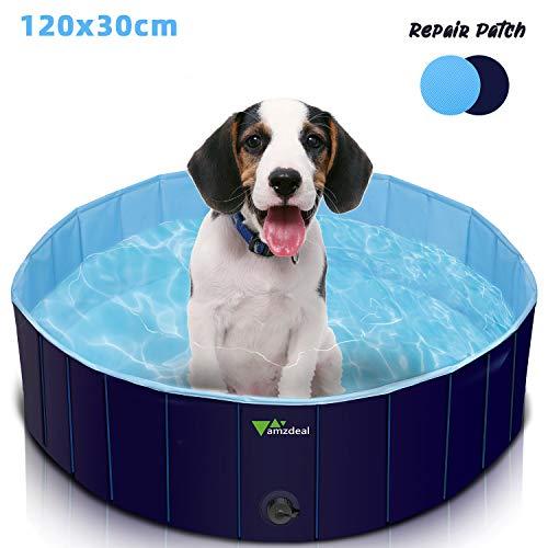 amzdeal Hundepool Schwimmbad - Faltbares Doggy Pool, 100% Umweltfreundliche PVC, rutschfest Schwimmbad für Hunde und Katzen, Hunde Planschbecken für Indoor und Outdoor geeignet, 120x30 cm