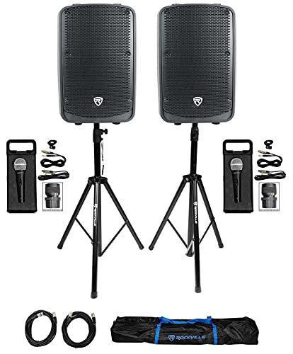 """(2) Rockville Titan 12 12"""" 2000w Active DJ PA Speakers/Bluetooth Bundle with (2) Rockville RMC-XLR Wired Microphone with (2) Cables & Rockville Adjustable Tripod Speaker/Light Stands (3 Items)"""