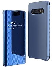 Oihxse Mirror Funda Compatible con Huawei P Smart/Enjoy 7S/Honor 9 Lite Espejo de Moda Flip Tapa Libro Carcasa Slim Brillante Colorido Duro Caso Translucent Window View 360°Protectora Caja (Azul)