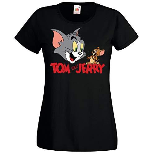 Youth Designz Maglietta da donna modello Tom Jerry Nero S