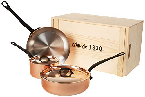 Mauviel M'Heritage M250C 2.5mm Copper Cookware Set, 5pc with Wooden Crate
