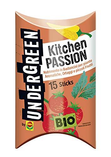 Undergreen Kitchen PASSION, Nutrimento in Bastoncini per Piante Aromatiche, Ortaggi e Piccoli Frutti, Consentito in Agricoltura Biologica, 15 Bastoncini
