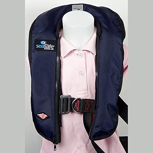 SeaSafe J-Zip Junior - Chaleco de seguridad de inflado automático de 15 kg a 40 kg arnés - azul marino
