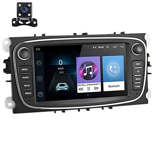 Autoradio Android 9.0 Autoradio da 7' Lettore stereo per auto Navigazione GPS WIFI Bluetooth Ricevitore FM Dual USB per Ford Focus Mondeo C-MAX S-MAX Galaxy II Kuga con telecamera posteriore (nero)