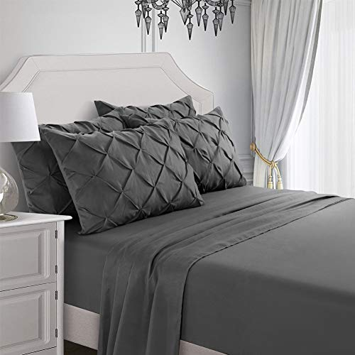 professional AiMay 6-piece pillow with a set of Siamese pleated pillows with deep pockets. Super soft matte microfiber.