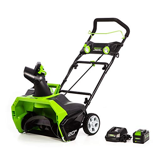 Greenworks 2605302 40V 20'' Brushless Snow Thrower 6Ah Battery and Charger Included