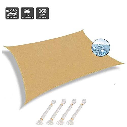 Shade Sails NEVY - zon rechthoek waterbestendig PES zonnebrandcrème luifel luifel met gratis touw tuin Patio zon luifel 3 kleuren en 20 maten 3x4m Zand